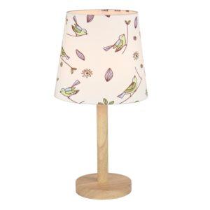 Produkt Stolná lampa, drevo/látka vzor vtáci, QENNY TYP 7 LT6026