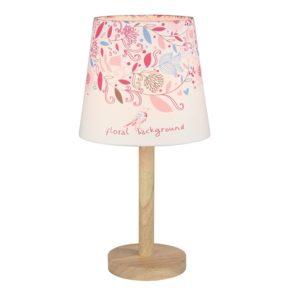 Produkt Stolná lampa, drevo/látka, vzor kvety, QENNY TYP 8 LT6026