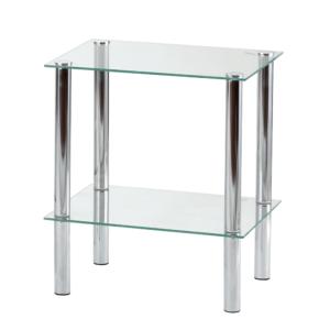 Produkt Regál, s dvomi poličkami, chróm / číre sklo, FREDDY 1