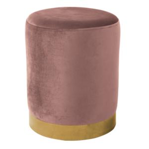 Produkt Taburet, ružová Velvet látka/gold chróm-zlatá, ALAZ