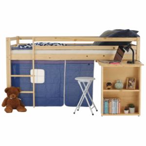 Produkt Posteľ s PC stolom, borovicové drevo/modrá, 90×200, ALZENA
