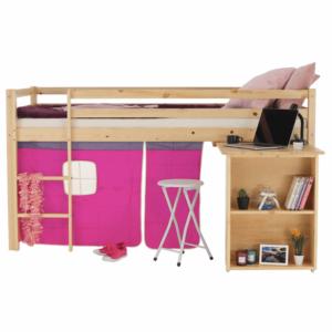 Produkt Posteľ s PC stolom, borovicové drevo/ružová, 90×200, ALZENA