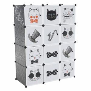 Produkt Detská modulárna skriňa, sivá/detský vzor, AVERON