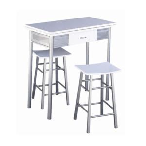 Produkt Barový set, stôl + 2 stoličky, biela/strieborná, HOMER
