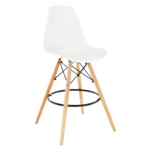 Produkt Barová stolička, biela/buk, CARBRY 2 NEW