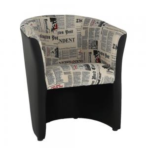 Produkt Klubové kreslo, ekokoža čierna/látka vzor novín, CUBA