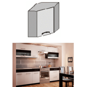 Produkt Horná rohová skrinka, biela/wenge, JURA NEW B GN-58*58