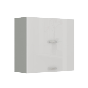 Produkt Skrinka horná, biela extra vysoký lesk/sivá, PRADO 80 GU-72