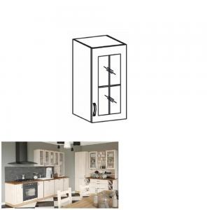 Produkt Horná skrinka so sklom, biela/sosna nordická, pravá, ROYAL G40S