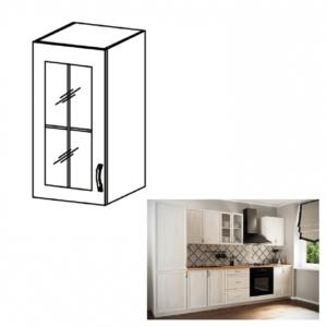 Produkt Horná skrinka G30S so sklom, ľavá, biela/sosna Andersen, SICILIA