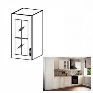 Produkt Horná skrinka G40S so sklom, ľavá, biela/sosna Andersen, SICILIA