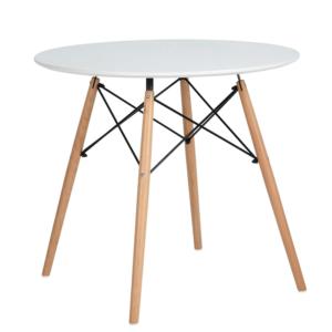 Produkt Jedálenský stôl, biela matná/buk, DEMIN