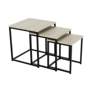 Produkt Set 3 konferenčných stolíkov, dub sonoma/ čierna, KASTLER TYP 3