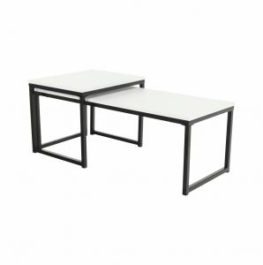 Produkt Set 2 konferenčných stolíkov, matná biela/čierna, KASTLER TYP 2