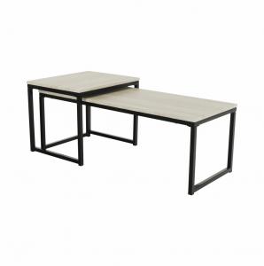 Produkt Set 2 konferenčných stolíkov, dub sonoma/čierna, KASTLER TYP 2