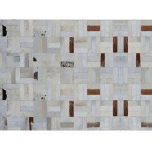 Produkt Luxusný kožený koberec, biela/sivá/hnedá, patchwork, 70×140, KOŽA TYP 1