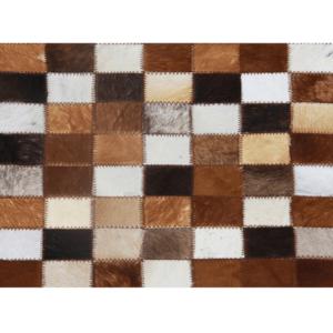 Produkt Luxusný kožený koberec, hnedá/čierna/biela, patchwork, 80×144, KOŽA TYP 3