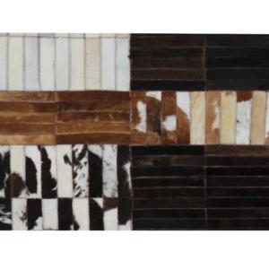 Produkt Luxusný kožený koberec, čierna/hnedá/biela, patchwork, 171×240, KOŽA TYP 4
