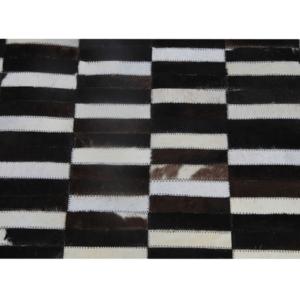 Produkt Luxusný kožený koberec,  hnedá/čierna/biela, patchwork, 120×180, KOŽA TYP 6
