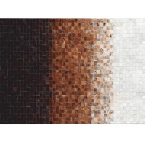 Produkt Luxusný kožený koberec, biela/hnedá/čierna, patchwork, 200×300, KOŽA TYP 7