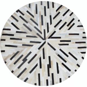 Produkt Luxusný kožený koberec, čierna/béžová/biela, patchwork, 200×200, KOŽA TYP 8