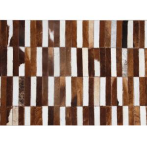 Produkt Luxusný kožený koberec, hnedá/biela, patchwork, 69×140, KOŽA TYP 5