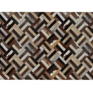 Produkt Luxusný kožený koberec, hnedá/čierna/béžová, patchwork, 200×300 , KOŽA TYP 2