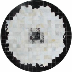 Produkt Luxusný kožený koberec, čierna/béžová/biela, patchwork, 150×150, KOŽA TYP 9
