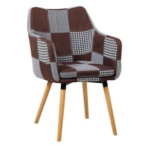 Produkt Kreslo, hnedá/čierna patchwork/buk, LANDOR