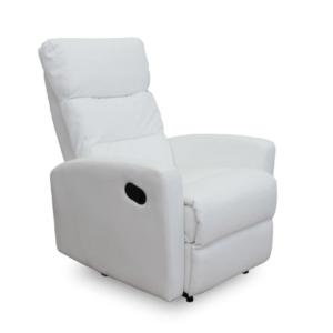 Produkt Relaxačné kreslo, ekokoža biela, SILAS