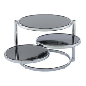 Produkt Otočný konferenčný stolík, čierne sklo/chróm, MOIRA