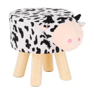 Produkt Taburet v tvare kravičky, látka Velvet biela/čierna/prírodná, MOLLY