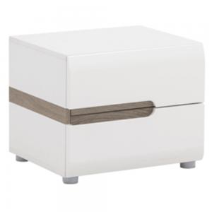 Produkt Nočný stolík, biela extra vysoký lesk HG/dub sonoma tmavý truflový, LYNATET TYP 96