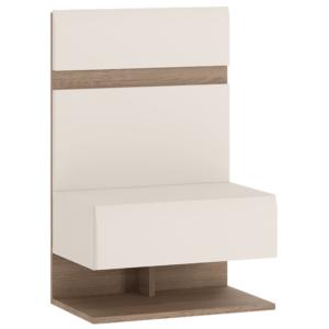 Produkt Nočný stolík, biela extra vysoký lesk HG/dub sonoma tmavý truflový, LYNATET TYP 95