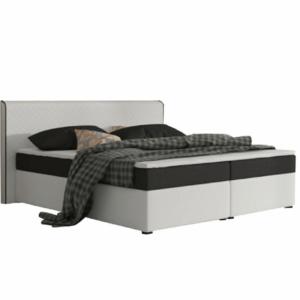 Produkt Komfortná posteľ, čierna látka/biela ekokoža, 160×200, NOVARA MEGAKOMFORT