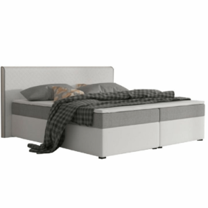 Produkt Komfortná posteľ, sivá látka/biela ekokoža, 180×200, NOVARA MEGAKOMFORT