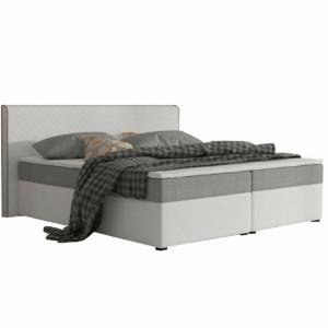 Produkt Komfortná posteľ, sivá látka/biela ekokoža, 180×200, NOVARA MEGAKOMFORT VISCO