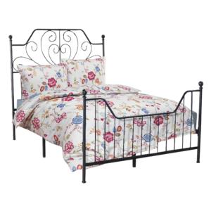 Produkt Kovová posteľ s roštom, čierna, 140×200, RAJANA