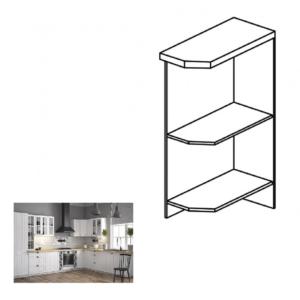 Produkt Dolná skrinka s dvomi policami D25PZ, pravá, biela, PROVANCE