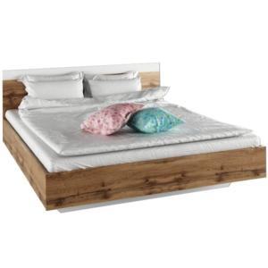 Produkt Manželská posteľ, 180×200, dub wotan/biela, GABRIELA
