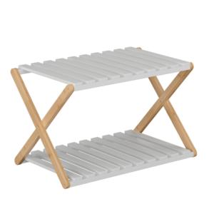 Produkt 2-poličkový regál, prírodný bambus/biela, PEORIA TYP 1