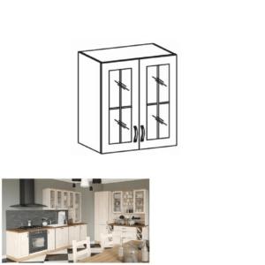 Produkt Horná skrinka so sklom, biela/sosna nordická, ROYAL G60S