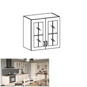 Produkt Horná skrinka so sklom, biela/sosna nordická, ROYAL G80S