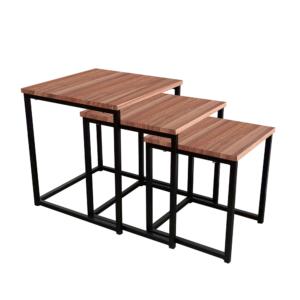 Produkt Set 3 konferenčných stolíkov, orech/čierna, KASTLER TYP 3