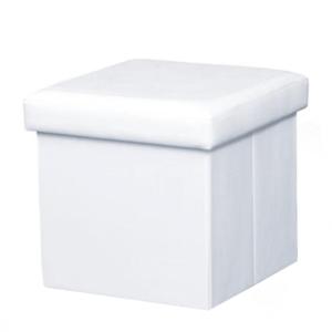 Produkt Skladací taburet, ekokoža biela, TELA NEW