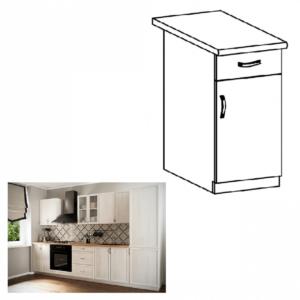 Produkt Spodná skrinka D40S1 so šuplíkom, pravá, biela/sosna Andersen, SICILIA