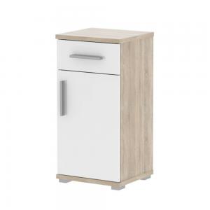 Produkt Spodná kúpeľňová skrinka, biela pololesk/dub sonoma, LESSY LI 03