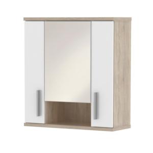 Produkt Závesná skrinka so zrkadlom, biela pololesk/dub sonoma, LESSY LI 01