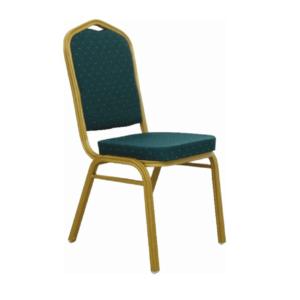 Produkt Stohovateľná stolička, zelená/matný zlatý rám, ZINA 2 NEW