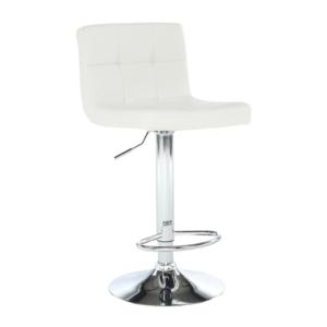 Produkt Barová stolička, biela ekokoža/chróm, KANDY NEW